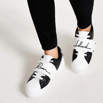 River Island Casual Style Faux Fur Street Style Logo Low-Top Sneakers