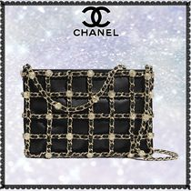 CHANEL Lambskin Studded 2WAY Chain Plain Leather Party Style