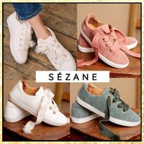 SEZANE Lace-up Casual Style Plain Leather Logo Low-Top Sneakers