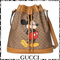 GUCCI Casual Style Street Style Leather Purses Bucket Bags