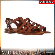 MiuMiu Open Toe Casual Style Blended Fabrics Plain Leather