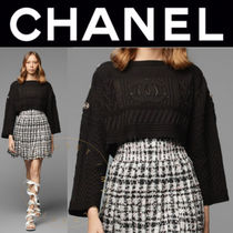 CHANEL Short Casual Style Studded Street Style Long Sleeves Plain