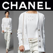 CHANEL Stripes Flower Patterns Casual Style Street Style Boat Neck