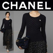 CHANEL Crew Neck Argile Casual Style Street Style Long Sleeves