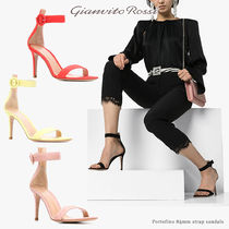 Gianvito Rossi Open Toe Casual Style Suede Plain Leather Pin Heels