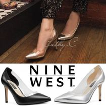 Nine West Blended Fabrics Plain Leather Pin Heels Party Style