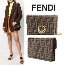 FENDI Monogram Calfskin 2WAY Chain Leather Elegant Style
