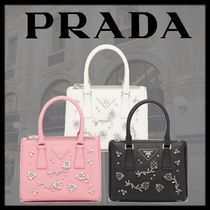PRADA GALLERIA 2WAY Leather With Jewels Elegant Style Logo Handbags