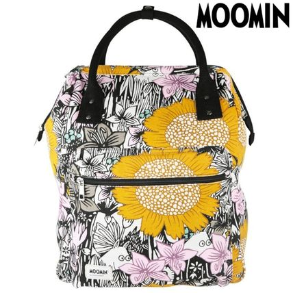 Flower Patterns Casual Style Unisex Canvas Logo Backpacks