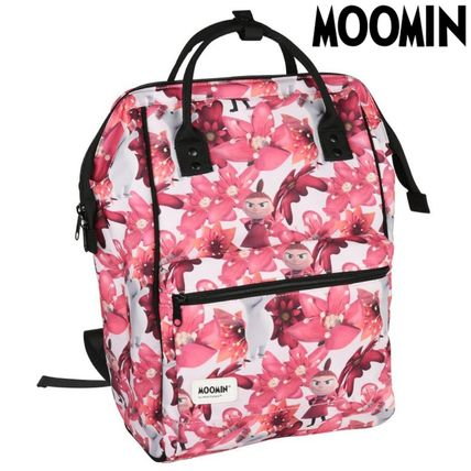 Flower Patterns Casual Style Unisex Logo Backpacks