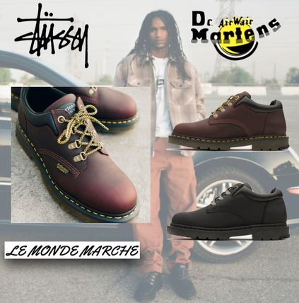 STUSSY Street Style Collaboration Plain Leather Logo Boots