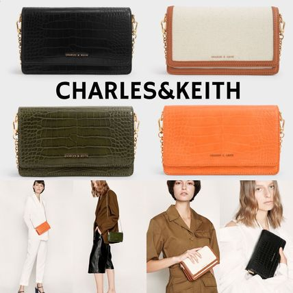 Charles&Keith Casual Style Canvas Faux Fur 2WAY Chain Plain