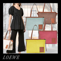 LOEWE Casual Style Calfskin Blended Fabrics A4 Plain Office Style