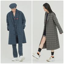 ROMANTIC CROWN Other Check Patterns Unisex Street Style Chester Coats