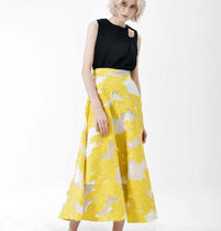 Flared Skirts Flower Patterns Casual Style Maxi Silk