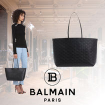 BALMAIN Monogram Casual Style Calfskin A4 Leather Office Style Totes