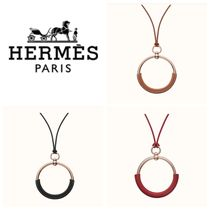 HERMES Casual Style Leather Brass Office Style Elegant Style