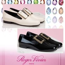 Roger Vivier Square Toe Moccasin Casual Style Plain Leather Office Style