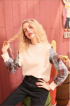 ELF SACK Crew Neck Other Plaid Patterns Casual Style Blended Fabrics