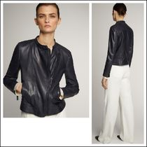 Massimo Dutti Short Plain Leather Biker Jackets