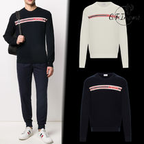 MONCLER Crew Neck Pullovers Unisex Wool Street Style Long Sleeves