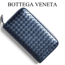 BOTTEGA VENETA Unisex Blended Fabrics Plain Leather Handmade Long Wallet