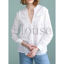 AMITIE Casual Style Long Sleeves Plain Cotton Shirts & Blouses
