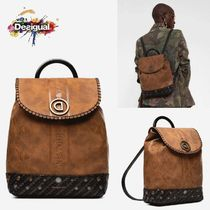 Desigual Flower Patterns Casual Style Faux Fur Studded 2WAY Backpacks