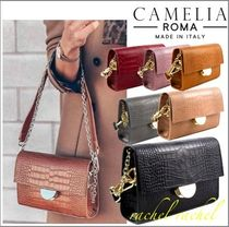 CAMELIA ROMA Casual Style 2WAY Plain Leather Shoulder Bags