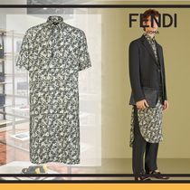 FENDI Camouflage Silk Short Sleeves Shirts
