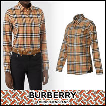 Burberry Other Check Patterns Casual Style Street Style Long Sleeves