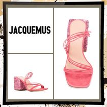 JACQUEMUS Open Toe Casual Style Suede Plain Leather Block Heels