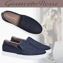 Gianvito Rossi Round Toe Rubber Sole Casual Style Blended Fabrics Plain