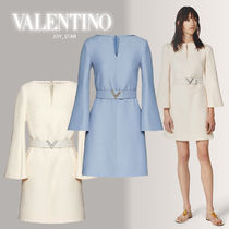 VALENTINO Wool Silk Long Sleeves Plain Party Style Elegant Style