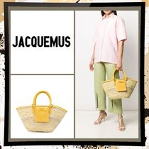 JACQUEMUS 2WAY Plain Leather Straw Bags