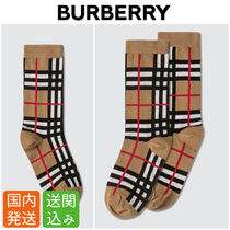Burberry Other Check Patterns Unisex Street Style Cotton