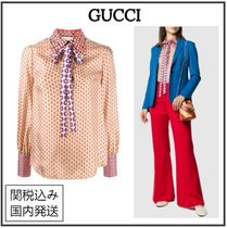 GUCCI Silk Long Sleeves Party Style Home Party Ideas Elegant Style