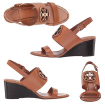 Tory Burch Open Toe Plain Leather Elegant Style
