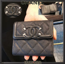 CHANEL ICON Unisex Calfskin Studded Plain Leather Folding Wallets