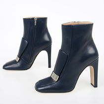 Sergio Rossi Square Toe Casual Style Plain Leather Block Heels