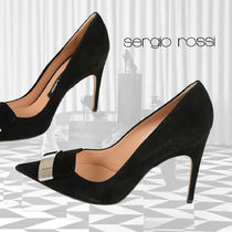 Sergio Rossi Casual Style Suede Plain Leather Pin Heels Party Style
