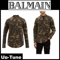 BALMAIN Camouflage Long Sleeves Cotton Shirts
