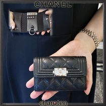 CHANEL BOY CHANEL Unisex Calfskin Plain Leather Keychains & Bag Charms
