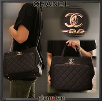 CHANEL ICON Casual Style Calfskin 2WAY Chain Plain Leather Party Style