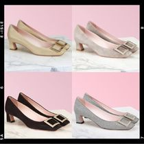 Roger Vivier Square Toe Casual Style Suede Plain Leather Elegant Style