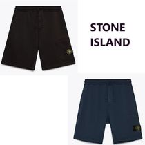 STONE ISLAND Sweat Street Style Plain Cotton Logo Military Cargo Shorts