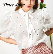 Sister Jane Flower Patterns Casual Style Plain Short Sleeves Party Style