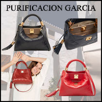 Purificacion Garcia Casual Style Calfskin Tassel 2WAY Leather Party Style