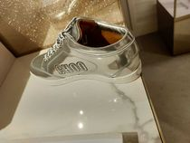 Jimmy Choo Round Toe Casual Style Leather Logo Low-Top Sneakers