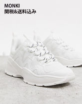 MONKI Rubber Sole Lace-up Casual Style Street Style Plain